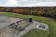 A photo taken from a drone shows a natural gas fracking well pad in Freeport, Pennsylvania, on Thursday, Oct. 15, 2020. President Trump accuses Joe Biden of wanting to ban fracking, a sensitive topic in the No. 2 natural gas state behind Texas. Biden insists he does not want to ban fracking broadly - he wants to ban it on federal lands and make electricity production fossil-fuel free by 2035. (AP Photo/Ted Shaffrey)