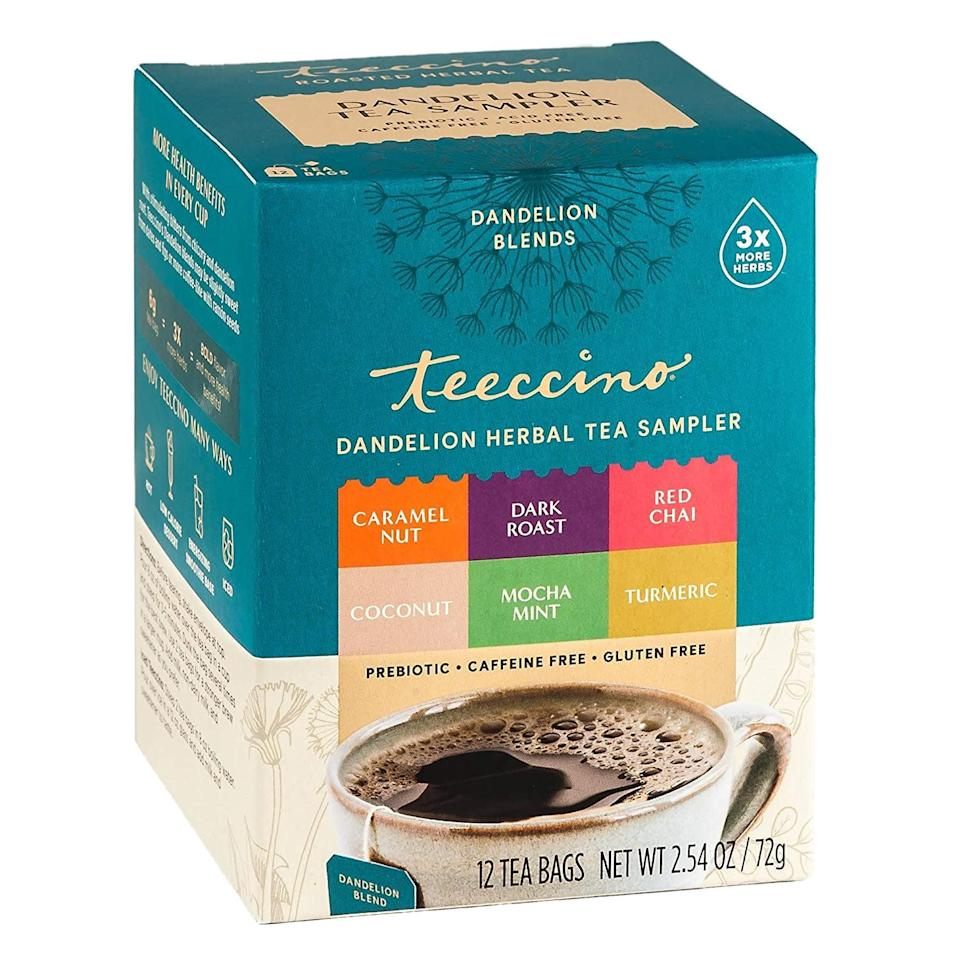 <p>For more fun flavors to try, this <span>Teeccino Dandelion Tea Sampler</span> ($8) has Caramel, Coconut, Dark Roast, Mocha Mint, Red Chai, and Turmeric. </p>