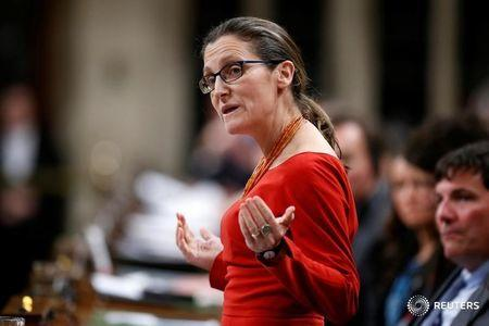 Canada's Foreign Minister Freeland speaks in the House of Commons in Ottawa