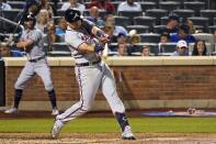 Atlanta Braves' Austin Riley hits a solo home run during the sixth inning of the team's baseball game against the New York Mets, Wednesday, July 28, 2021, in New York. (AP Photo/Mary Altaffer)