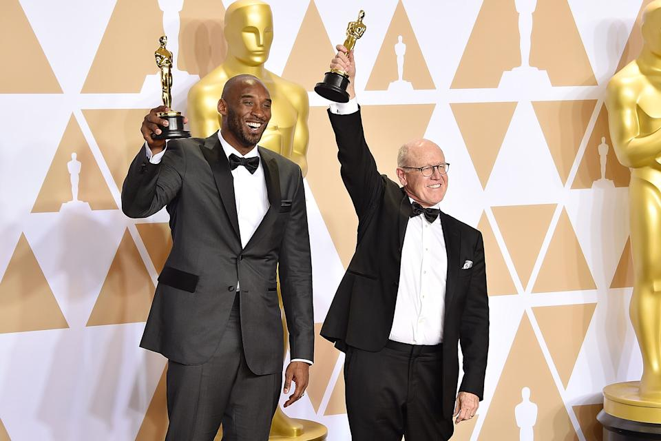 HOLLYWOOD, CA - MARCH 04:  Kobe Bryant and Glen Keane attend the 90th Annual Academy Awards - Press Room on March 4, 2018 in Hollywood, California.  (Photo by David Crotty/Patrick McMullan via Getty Images)