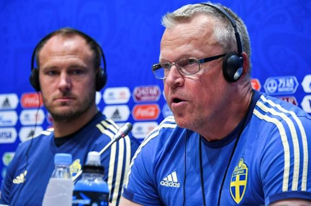 Sweden coach Janne Andersson (right) and defender Andreas Granqvist speak to the press in Sochi