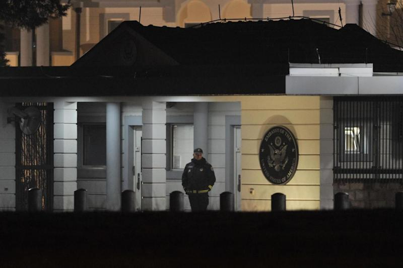 Explosion: Police guard the entrance to the US Embassy compound in Montenegro's capital Podgorica (AFP/Getty Images)