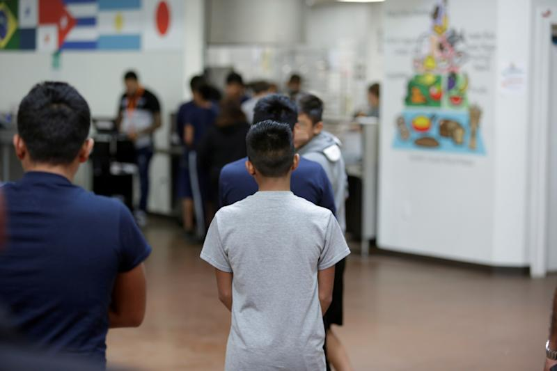Little boys at Casa Padre, a former Walmart in Brownsville, Texas. This image was provided by the U.S. Department of Health and Human Services.