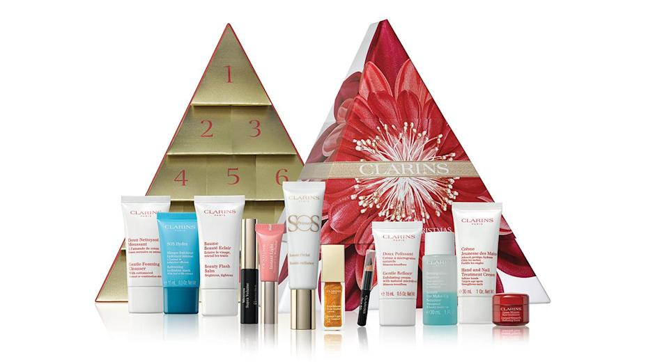 """<p>For £60, you can find 12 miniature beauty items in Clarins' 2018 advent calendar. This year, the gift set includes a super volume mascara and gentle foaming cleanser. Available online <a rel=""""nofollow noopener"""" href=""""https://www.debenhams.com/webapp/wcs/stores/servlet/prod_10701_10001_163104808499?brand=Clarins&cat1=Gifts&cat2=Advent-calendars&CMP=SSH_6890450472_1341032141_51870853377&gclid=Cj0KCQjwjbveBRDVARIsAKxH7vlJ0tYLiIi7eJ5SWND4Xo-aV5c4tqWPWn5ro8TO7O7NH5DN7-ny8pcaAkqwEALw_wcB&gclsrc=aw.ds"""" target=""""_blank"""" data-ylk=""""slk:now"""" class=""""link rapid-noclick-resp"""">now</a>. </p>"""
