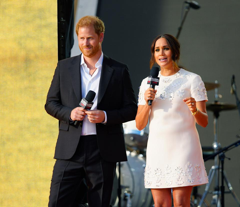 Prince Harry and Meghan Markle speak on stage at Global Citizen Live: New York