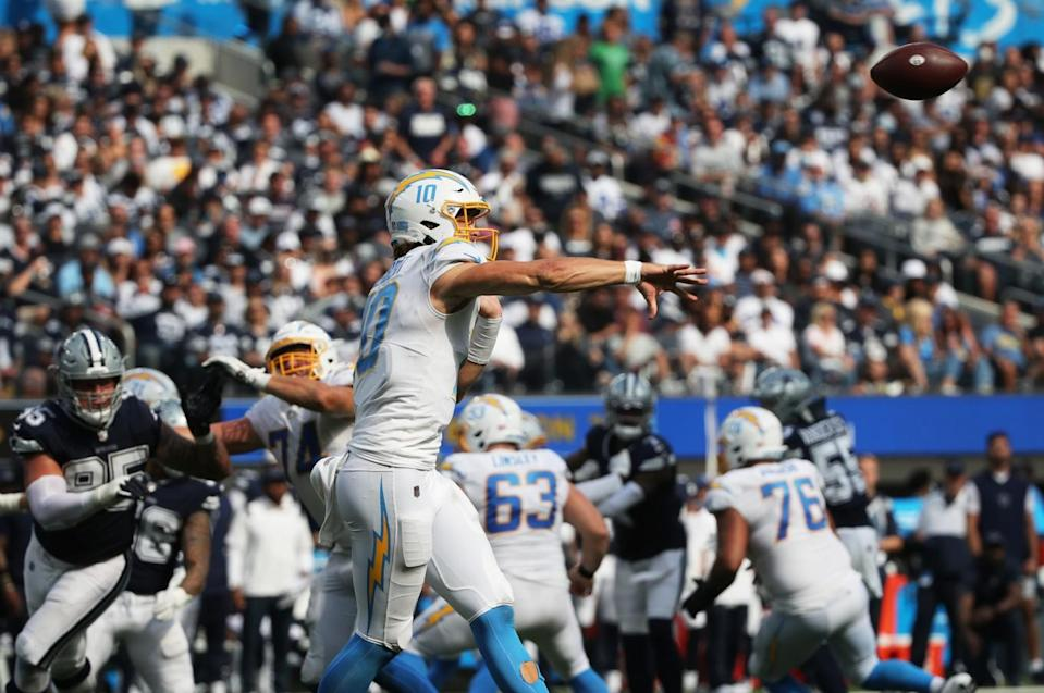 Chargers quarterback Justin Herbert has plenty of time to get make a throw.