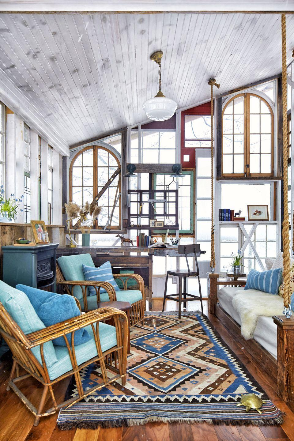 """<p>""""I joke that the structure is a family quilt of salvaged windows, because they came from important people in our lives,"""" Christina says. """"We got windows from my husband's, aunt, my mom, an old landlord..."""" </p><p><a class=""""link rapid-noclick-resp"""" href=""""https://www.amazon.com/Life-Changing-Magic-Tidying-Decluttering-Organizing/dp/1607747308?tag=syn-yahoo-20&ascsubtag=%5Bartid%7C10072.g.35047961%5Bsrc%7Cyahoo-us"""" rel=""""nofollow noopener"""" target=""""_blank"""" data-ylk=""""slk:SHOP BOOKS ABOUT TIDYING"""">SHOP BOOKS ABOUT TIDYING</a></p>"""