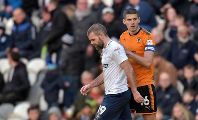 "Soccer Football - Championship - Preston North End vs Wolverhampton Wanderers - Deepdale, Preston, Britain - February 17, 2018 Preston's John Welsh is consoled by Wolves' Conor Coady after being sent off Action Images/Paul Burrows EDITORIAL USE ONLY. No use with unauthorized audio, video, data, fixture lists, club/league logos or ""live"" services. Online in-match use limited to 75 images, no video emulation. No use in betting, games or single club/league/player publications. Please contact your account representative for further details."