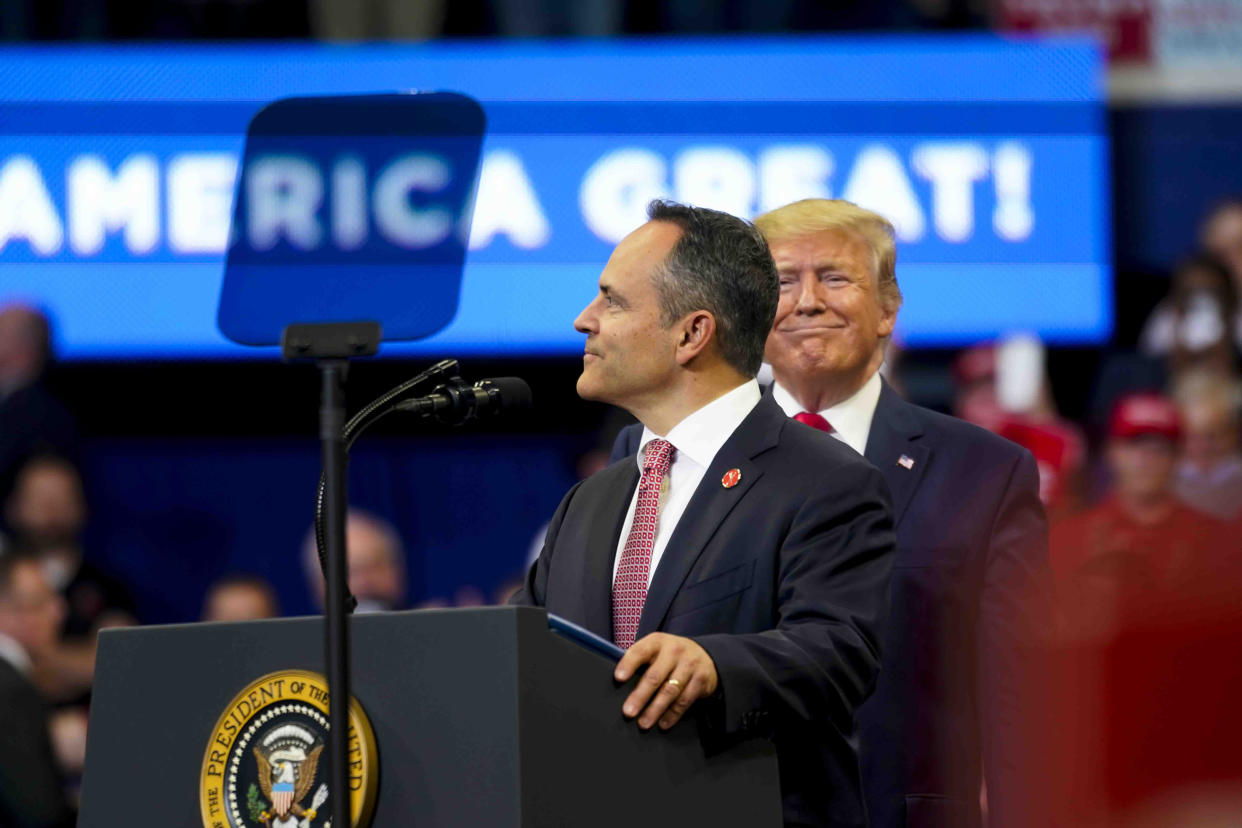 President Donald Trump with Gov. Matt Bevin of Kentucky at a rally on Monday, Nov. 4, 2019, in Lexington, Ky. (Doug Mills/The New York Times)