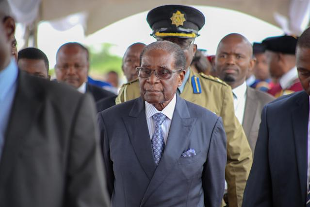 <p>Zimbabwe's President Robert Mugabe appeares in public in capital Harare for the first time since the military moved against him, on Nove. 17, 2017 in Harare, Zimbabwe. Mugabe was spotted at a graduation ceremony at the Zimbabwe Open University. (Photo: Yafadzwa Ufumeli/Anadolu Agency/Getty Images) </p>