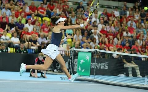 Jo Konta on the charge - Credit: Getty Images