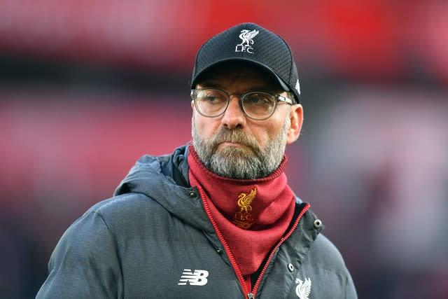 Jurgen Klopp's Liverpool are eight points clear at the top of the Premier League (Anthony Devlin/PA)