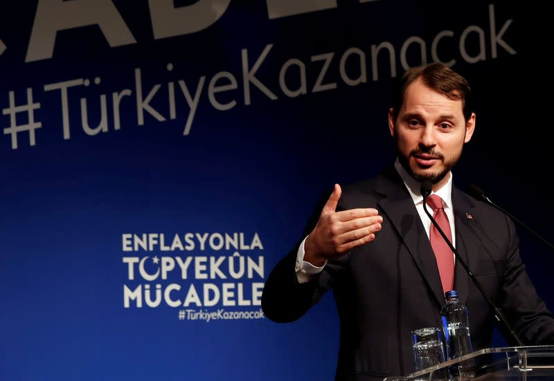 FILE PHOTO: Turkish Finance Minister Albayrak speaks during an event to announce his programme to fight inflation, in Istanbul
