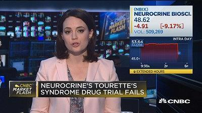 CNBC's Meg Tirrell reports Neurocrine's stock fell after hours following reports it's drug trial for a new Tourette's medication had failed.