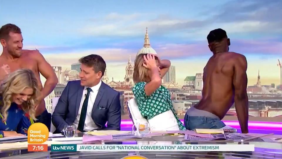 'Good Morning Britain' viewers weren't impressed when Richard Arnold invited three male strippers on the show this morning (ITV)
