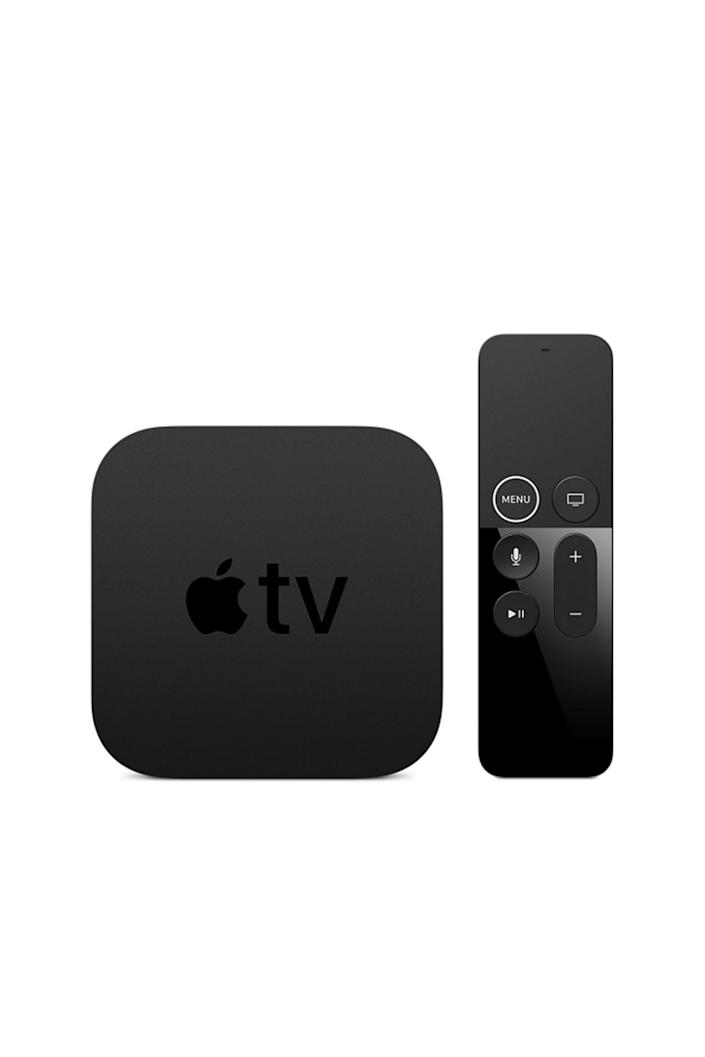 """<p><strong>Apple</strong></p><p>amazon.com</p><p><strong>$179.00</strong></p><p><a href=""""https://www.amazon.com/dp/B075NCMLYL?tag=syn-yahoo-20&ascsubtag=%5Bartid%7C10067.g.13094996%5Bsrc%7Cyahoo-us"""" rel=""""nofollow noopener"""" target=""""_blank"""" data-ylk=""""slk:Shop Now"""" class=""""link rapid-noclick-resp"""">Shop Now</a></p><p>The latest version of Apple TV comes with support for 4K-resolution video, which has four times more pixels than standard HDTV—that means sharper, crisper content from sources like Netflix, which produces all of its original shows in 4K. It also supports high-dynamic range (HDR), which translates to higher-contrast video that brings things closer to how they look in real life.</p><p><strong>More</strong>: <a href=""""https://www.townandcountrymag.com/style/mens-fashion/news/g986/gift-ideas-for-men/"""" rel=""""nofollow noopener"""" target=""""_blank"""" data-ylk=""""slk:The Best Gifts for Every Man on Your List"""" class=""""link rapid-noclick-resp"""">The Best Gifts for Every Man on Your List</a></p>"""