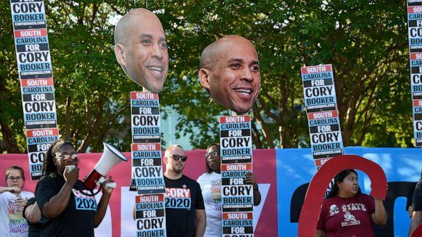 PHOTO: Supporters of New Jersey Sen. Cory Booker rally for the Democratic presidential hopeful ahead of Majority Whip Jim Clyburn's 'World Famous Fish Fry' on Friday, June 21, 2019, in Columbia, S.C. (AP Photo/Meg Kinnard)