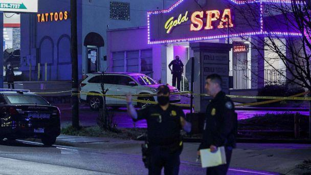 PHOTO: City of Atlanta police officers are seen outside of Gold Spa after deadly shootings in the Atlanta area, March 16, 2021.  (Christopher Aluka Berry/Reuters, FILE)