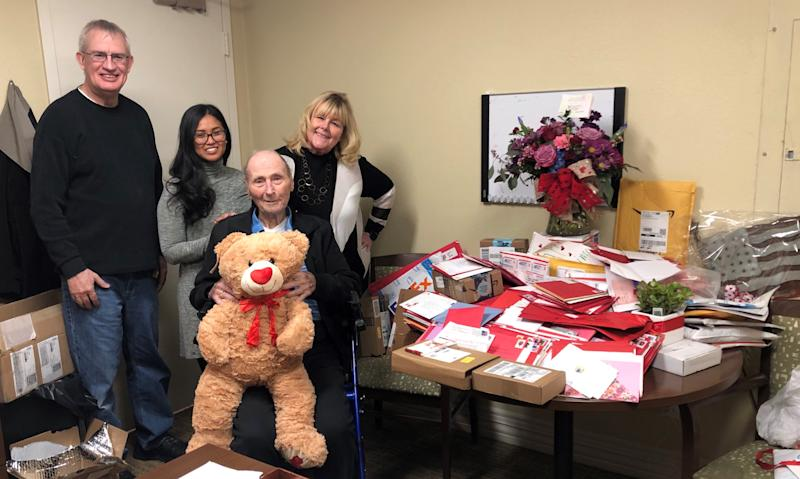 Veteran Bill White receives cards and gifts for Valentine's Day