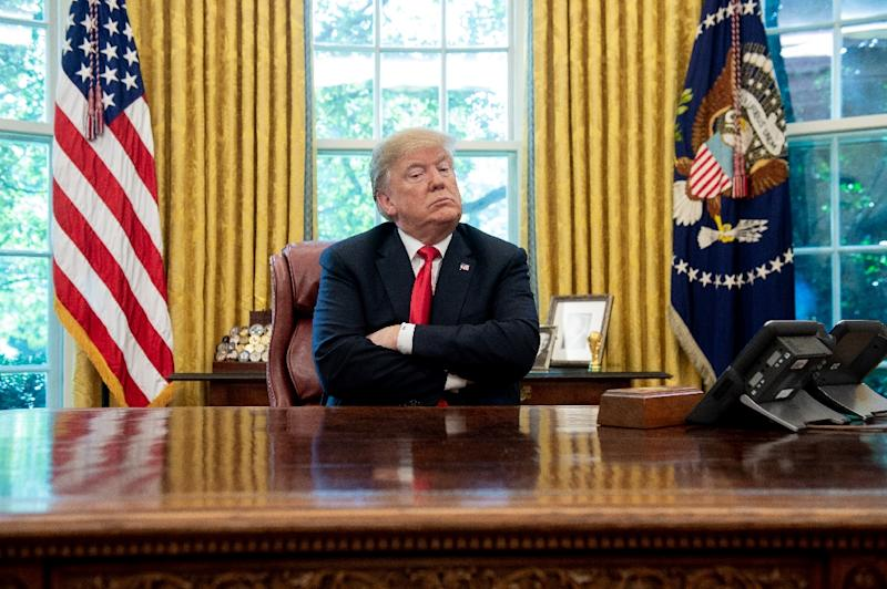 US President Donald Trump, pictured here in the Oval Office October 10, 2018, has dispatched his top diplomat to Saudi Arabia to speak to the king about missing journalist Jamal Khashoggi (AFP Photo/SAUL LOEB)