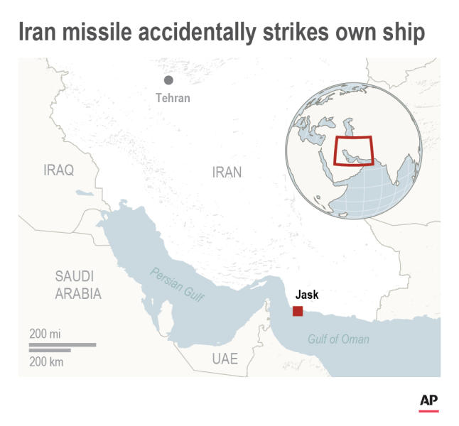 Map shows location where Iranian missile accidentally strikes own ship Konarak; 2c x 3 inches; 96.3 mm x 76 mm;