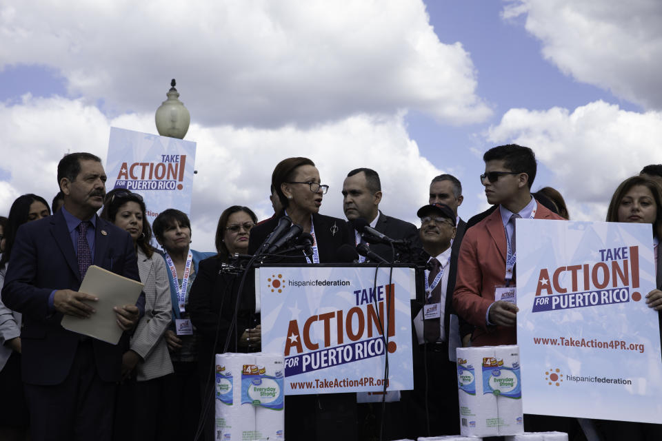 Representative Nydia Velasquez (NY) speaks during a press conference with activists from 'Take Action for Puerto Rico'  demanding support from the Federal Government to rebuild Puerto Rico after two years of Hurricane Maria in Capitol Hill, Washington D.C. Wednesday, September 18, 2019.  (Photo by Aurora Samperio/NurPhoto via Getty Images)