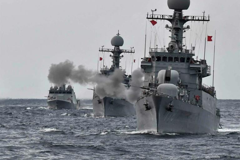 South Korean navy vessels taking part in a naval drill off the east coast of South KoreaMore