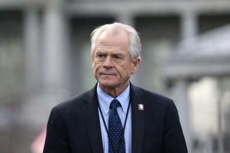 White House trade adviser Peter Navarro listens to a news conference outside of the West Wing of the White House