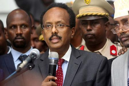 Somalia's newly elected President Mohamed Abdullahi Farmajo addresses lawmakers after winning the vote at the airport in Somalia's capital Mogadishu, February 8, 2017. REUTERS/Feisal Omar