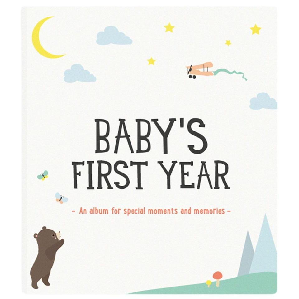 """The perfect keepsake to document her baby's milestones. $39, Maisonette. <a href=""""https://www.maisonette.com/product/baby-s-first-year-photo-album"""" rel=""""nofollow noopener"""" target=""""_blank"""" data-ylk=""""slk:Get it now!"""" class=""""link rapid-noclick-resp"""">Get it now!</a>"""