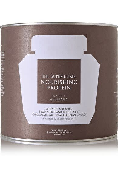 "<p>Perfect for the on-the-go woman, this delish protein has all the vitamins and minerals you need in one scoop! Use as a meal replacement, or post-workout! <a href=""http://www.net-a-porter.com/us/en/product/659780?cm_mmc=LinkshareUS-_-i*0sejpE9jI-_-Custom-_-LinkBuilder&siteID=i.0sejpE9jI-GI.6.YOPXwQ4JaAbVWIXDA"" rel=""nofollow noopener"" target=""_blank"" data-ylk=""slk:Super Elixir Protein"" class=""link rapid-noclick-resp"">Super Elixir Protein</a> ($59)</p>"