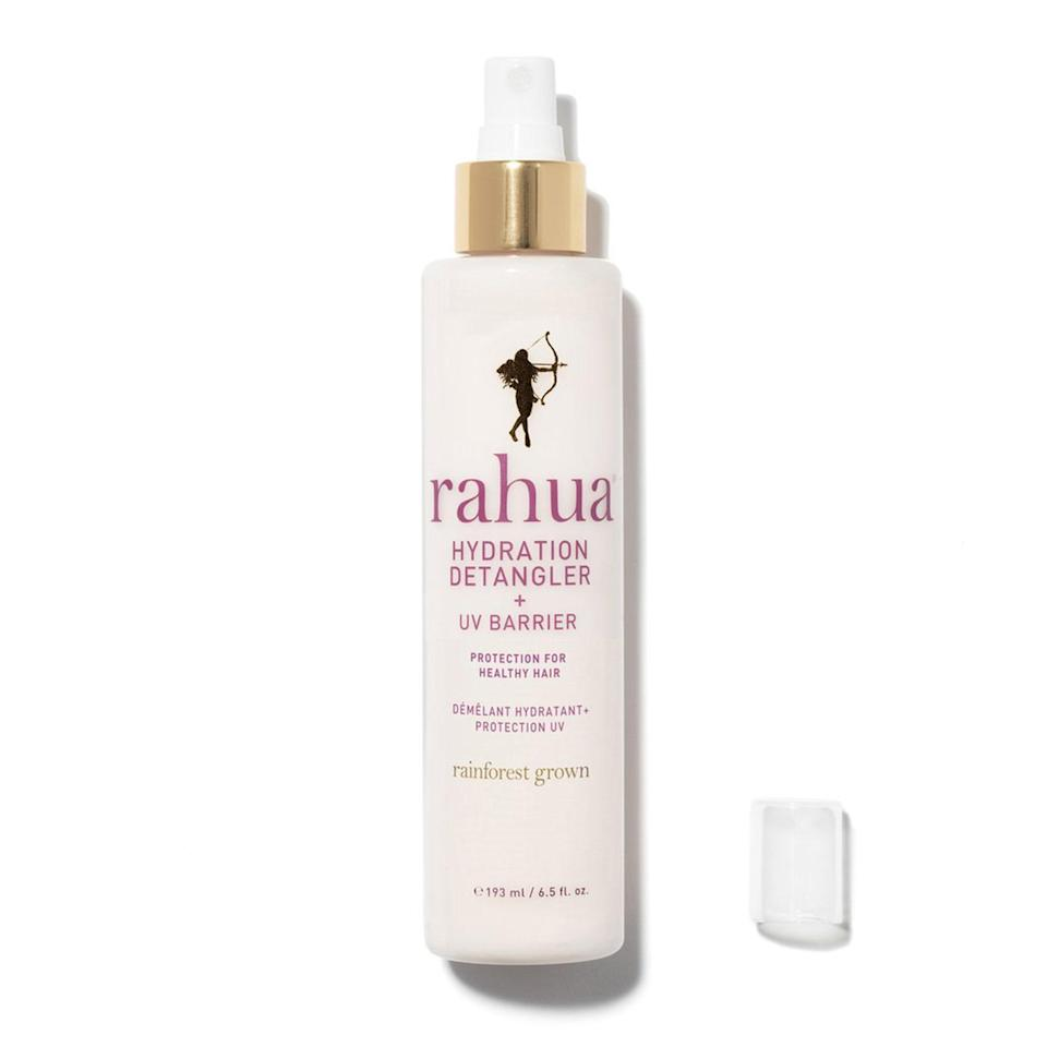"""<p>Rahua expands its beloved hydration line with a detangling leave-in spray that also works as a barrier to the sun's harmful rays hitting your crown. Morete oil works as UV protection and the spray smells like delicious tropical candy.</p> <p><strong>$32</strong> (<a href=""""https://shop-links.co/1673481984084139689"""" rel=""""nofollow noopener"""" target=""""_blank"""" data-ylk=""""slk:Shop Now"""" class=""""link rapid-noclick-resp"""">Shop Now</a>)</p>"""