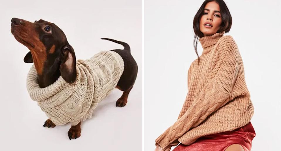 Missguided: The online retailer sells jumpers so you can match with your dog. [Photo: Missguided]