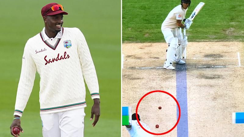 Pictured here, Windies captain Jason Holder and one of his side's reviews against England.