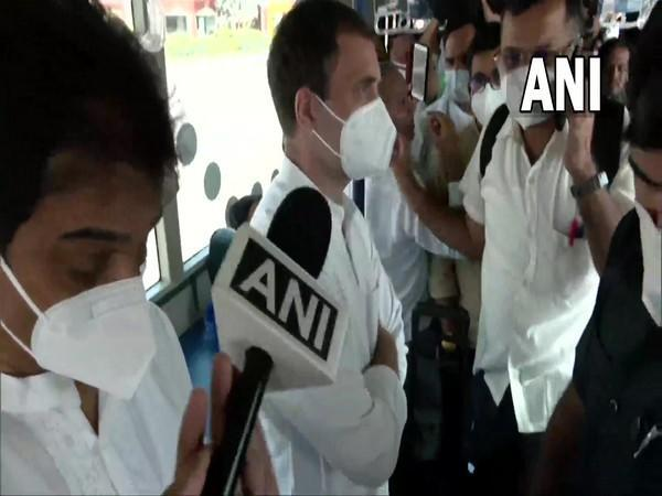 Congress leader Rahul Gandhi arrives at Lucknow airport. (Photo/ ANI)