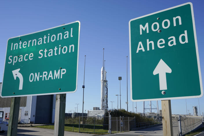 Northrup Grumman's Antares rocket is poised for launch at the NASA Wallops test flight facility Thursday, Oct. 1, 2020, in Wallops Island, Va. The rocket is set to launch Thursday evening to deliver supplies to the International Space Station. (AP Photo/Steve Helber)
