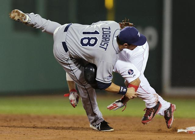 Boston Red Sox's Shane Victorino rear, collides with Tampa Bay Rays second baseman Ben Zobrist (18) on a double-play attempt in the third inning of Game 2 of baseball's American League division series Saturday, Oct. 5, 2013, in Boston. Dustin Pedroia was safe at first. (AP Photo/Charles Krupa)