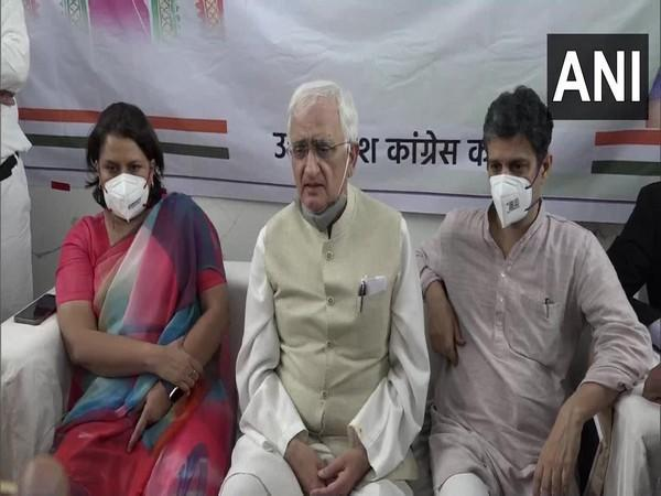 Congress leader and former Union Minister Salman Khurshid in Agra on Sunday. (Photo/ANI)