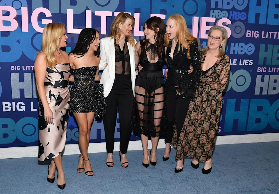 """NEW YORK, NEW YORK - MAY 29: (L-R) Reese Witherspoon, Zoe Kravitz, Laura Dern, Shailene Woodley, Nicole Kidman and Meryl Streep attend the """"Big Little Lies"""" Season 2 Premiere at Jazz at Lincoln Center on May 29, 2019 in New York City. (Photo by Dia Dipasupil/Getty Images,)"""