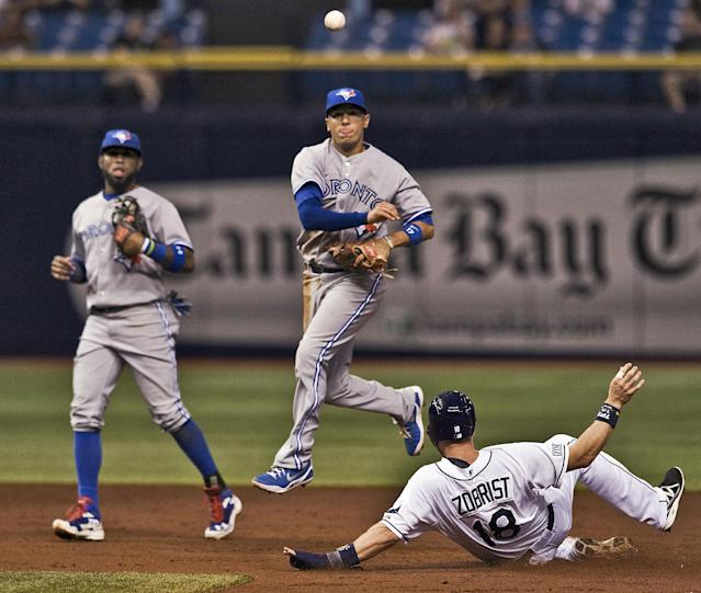 Toronto Blue Jays shortstop Jose Reyes, left, looks on as teammate Ryan Goins, center, forces out Tampa Bay Rays' Ben Zobrist (18) at second and throws to first to complete a double play during the third inning of a baseball game Thursday, Sept. 4, 2014, in St. Petersburg, Fla. (AP Photo/Steve Nesius)
