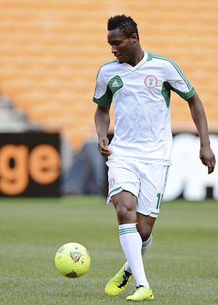 Nigeria's John Obi Mikel controls a ball during a training session at Soccer City in Soweto on February 9, 2013, on the eve of the Africa Cup of Nations final against Burkina Faso