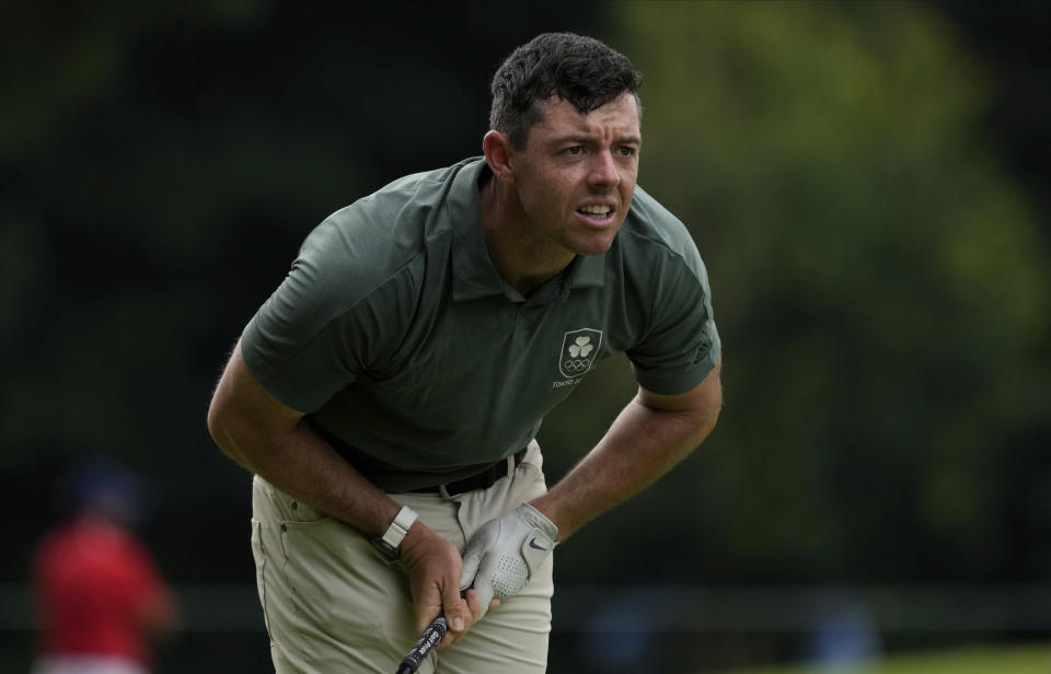 Rory McIlroy of Ireland watches his tee shot on the 6th hole during the second round of the men's golf event at the 2020 Summer Olympics on Friday, July 30, 2021, at the Kasumigaseki Country Club in Kawagoe, Japan. (AP Photo/Andy Wong)