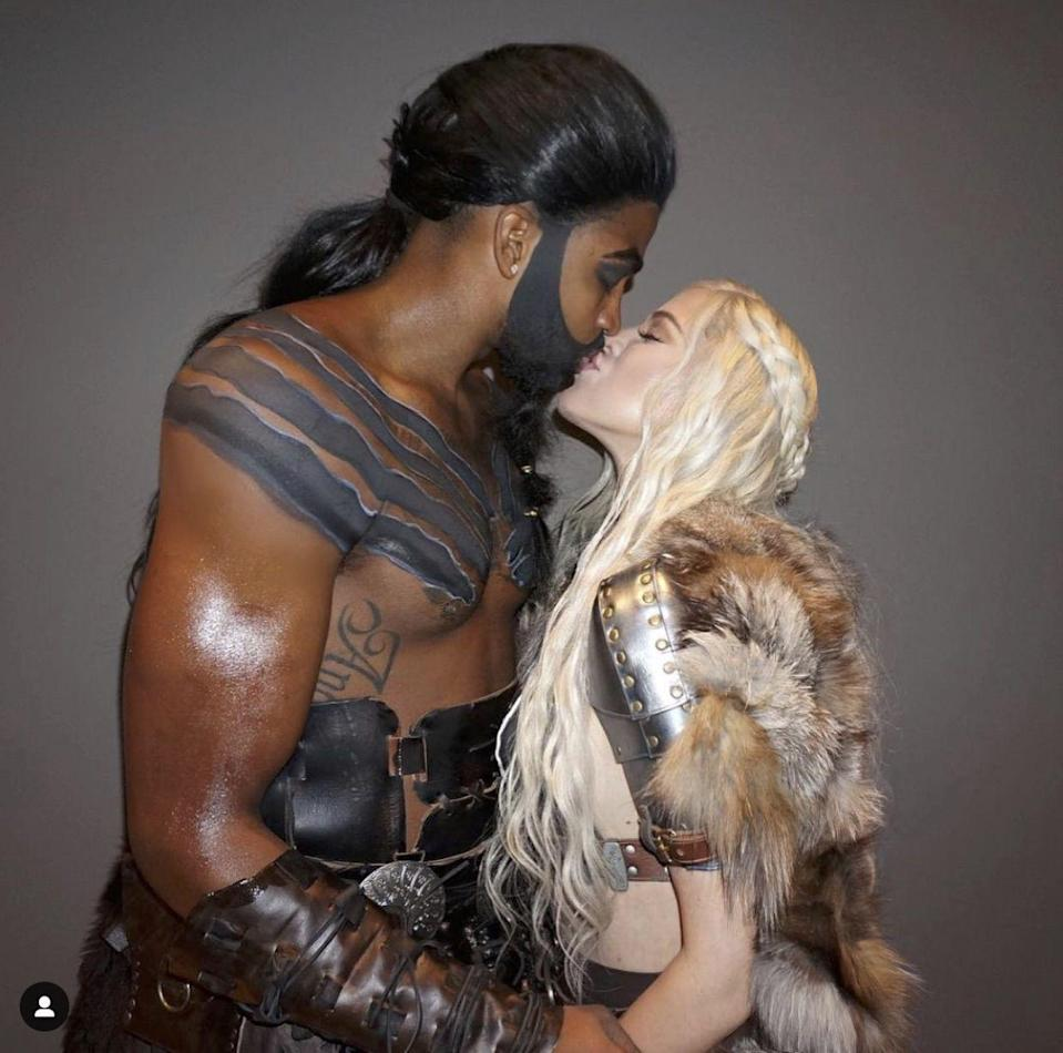 <p>Boo, Tristan. Yay, Khal Drogo! Steal Khloe Kardashian and Tristan's Drogo and Daenerys look—wigs, fur, and all.</p>