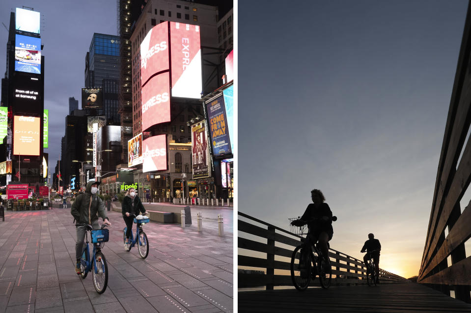 This combination of photos shows people riding bicycles in New York's Times Square, left, on April 29, 2020, and in Gulf State Park in Gulf Shores, Ala., March 12, 2020, during the coronavirus pandemic. The human loss from the pandemic isn't going to be reflected in the U.S. population count used for divvying up congressional seats among the states. And that could save a congressional seat for New York but cost Alabama one. (AP Photo)