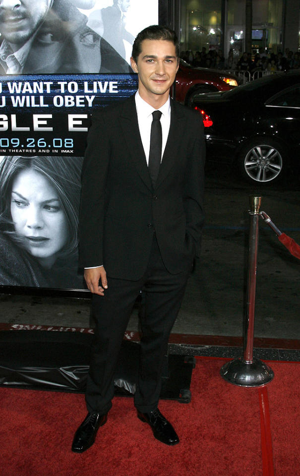 """<a href=""""http://movies.yahoo.com/movie/contributor/1804503925"""">Shia LaBeouf</a> at the Los Angeles premiere of <a href=""""http://movies.yahoo.com/movie/1809955918/info"""">Eagle Eye</a> - 09/16/2008"""