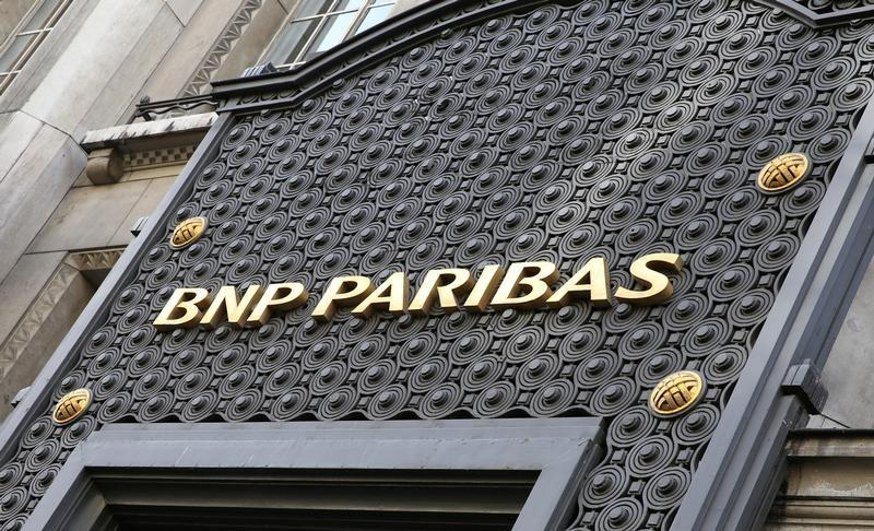 The logo of the BNP Paribas bank is seen in Paris