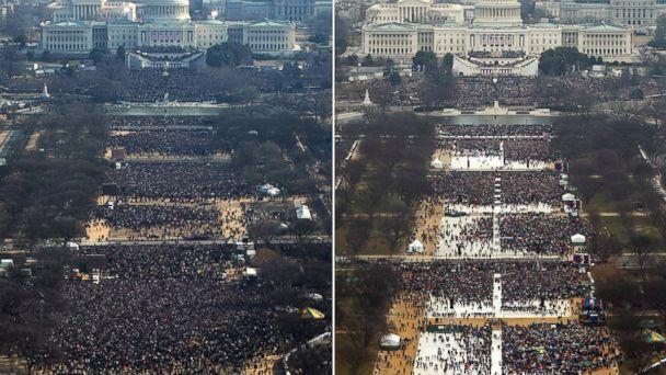 PHOTO: Jan. 20, 2009 Inauguration, 11AM | Jan. 20, 2017 Inauguration, 12PM (Getty Images | Reuters)