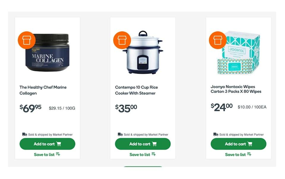 Screenshots of the items available on Everyday Market. Source: Woolworths.