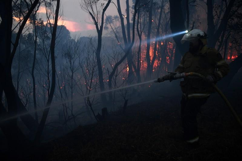 A NSW Rural Fire Service firefighter conducts property protection as a bushfire burns close to homes on Railway Parade in Woodford NSW